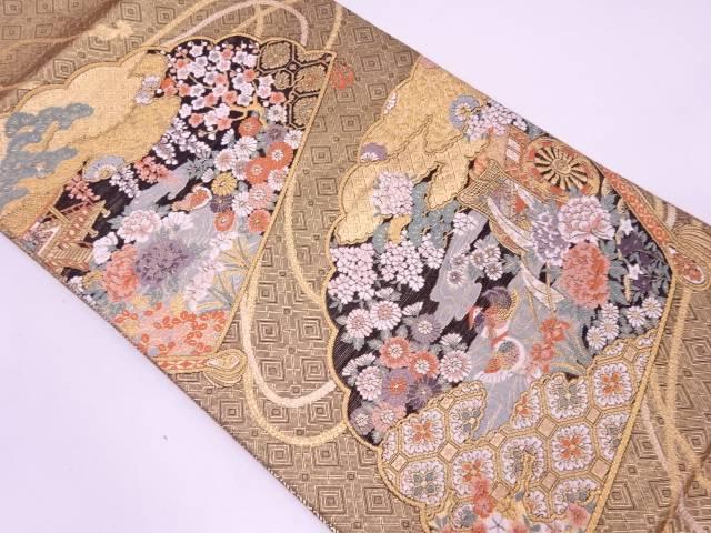 檜扇に花鳥・御所車模様織出し袋帯【リサイクル】【中古】