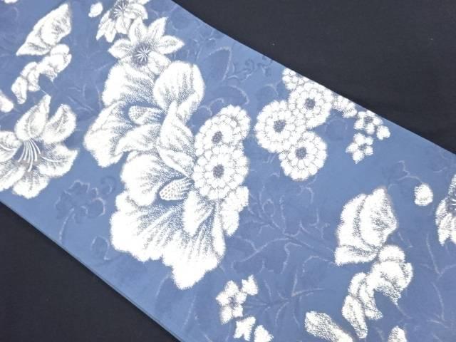 渡文製 池田重子 椿に百合模様織り出し袋帯【リサイクル】【中古】