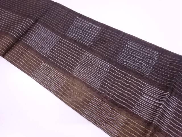 すくい織市松に縞模様織出し袋帯【リサイクル】【中古】