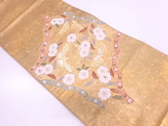 引箔蝶に花唐草模様織出し袋帯【リサイクル】【中古】