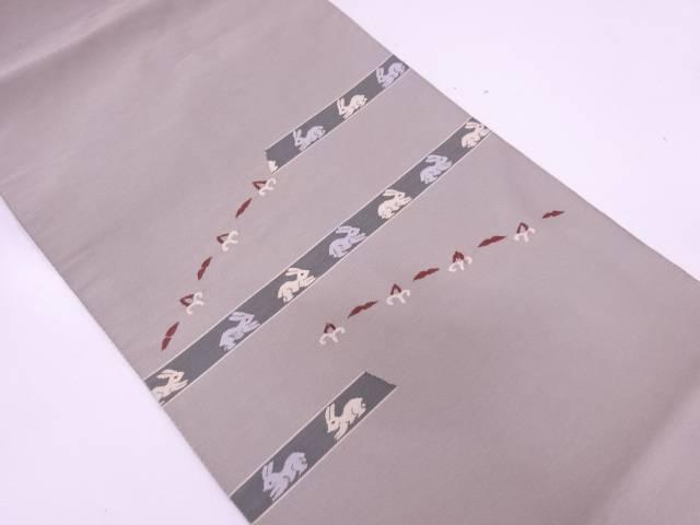綴れ横段に兎模様織出し名古屋帯【リサイクル】【中古】