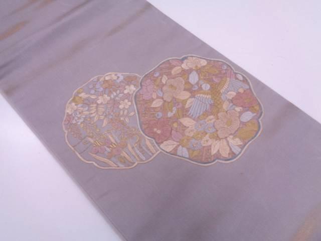 相良刺繍絵皿に花鳥模様袋帯【リサイクル】【中古】