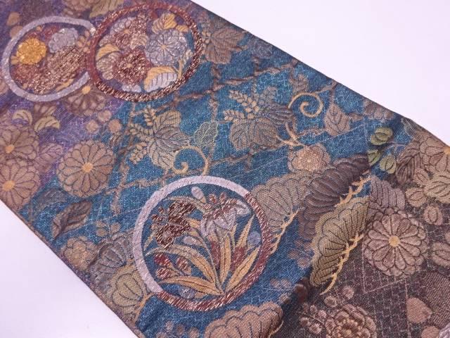 丸紋に草花模様織出し袋帯【リサイクル】【中古】