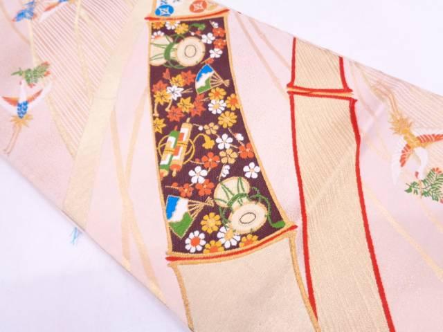 竹に鼓・松喰鶴模様織出し袋帯【リサイクル】【中古】