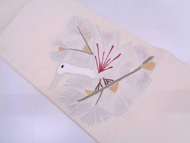 松に鳥模様織出し名古屋帯【リサイクル】【中古】