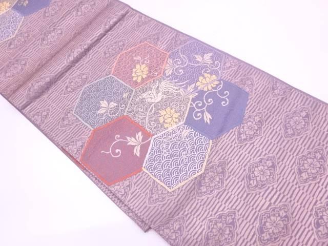 亀甲に花鳥・古典柄模様織出し袋帯【リサイクル】【中古】