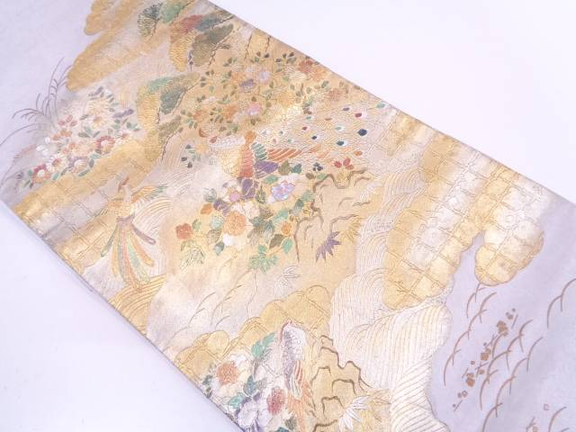 金彩螺鈿道長取りに花鳥模様袋帯【リサイクル】【中古】