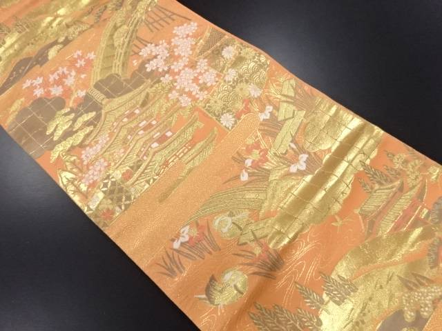 未使用品 本金箔寺塔に桜・八つ橋・杜若模様織り出し袋帯【リサイクル】【中古】
