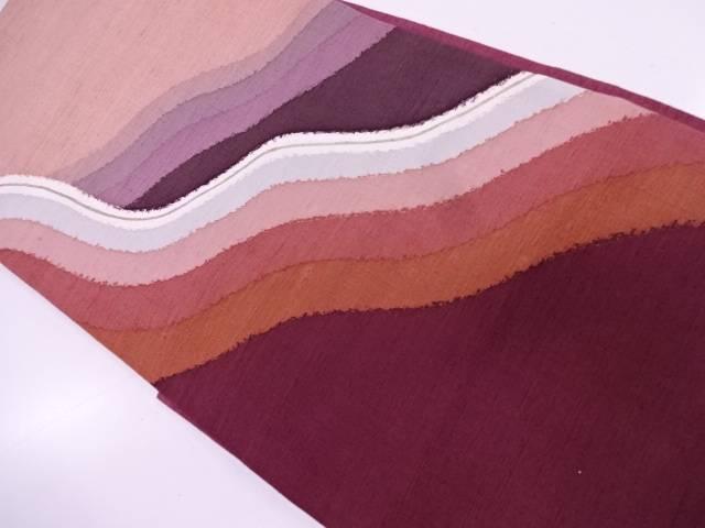 手織り真綿紬抽象模様袋帯【リサイクル】【中古】