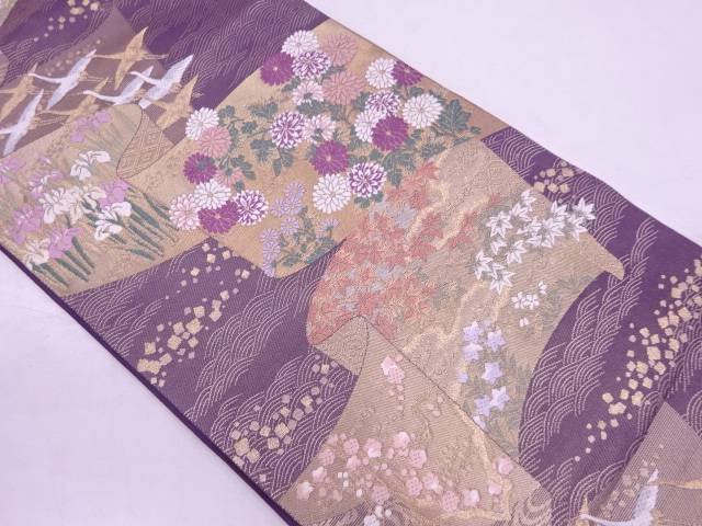 帝王紫群鶴に草花・色紙散らし模様織出し袋帯【リサイクル】【中古】