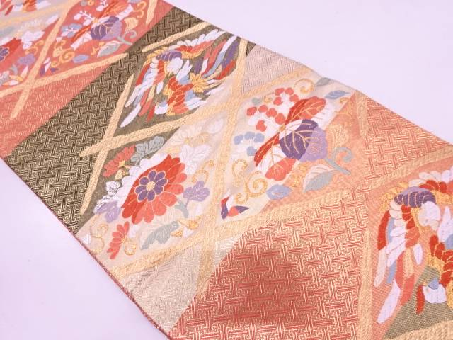 襷に向かい鳳凰・菊桐模様織出し袋帯【リサイクル】【中古】