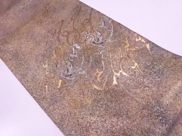 引箔螺鈿抽象鳳凰模様織出し袋帯【リサイクル】【中古】