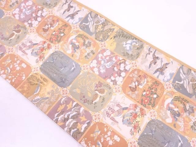 変わり格子に花鳥模様織出し袋帯【リサイクル】【中古】