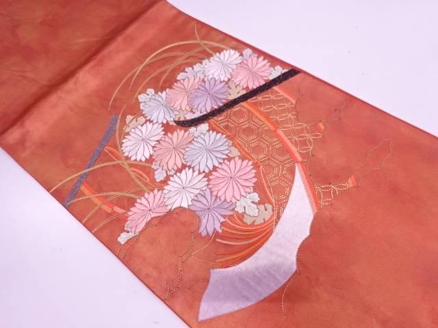 几帳に草花・古典柄模様刺繍袋帯【リサイクル】【中古】