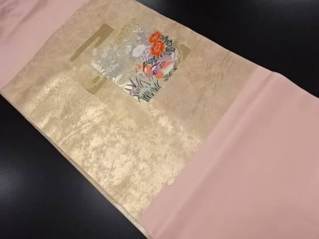 未使用品 本金箔24K色紙に牡丹・鴛鴦模様織り出し名古屋帯【リサイクル】【中古】