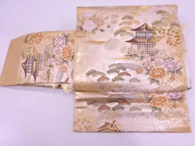 金閣寺風景模様織出し作り帯【リサイクル】【中古】