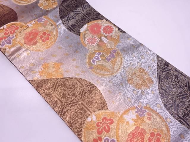 草花に孔雀羽模様織出し暈し袋帯【リサイクル】【中古】