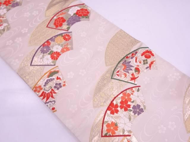 地紙に草花・宝尽くし模様織出し袋帯【リサイクル】【中古】