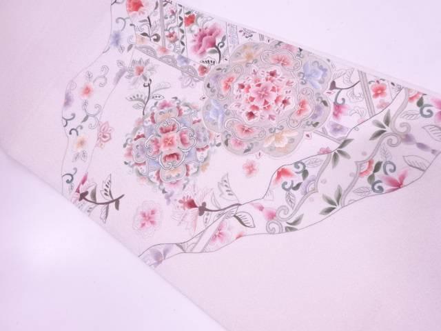 蘇州刺繍花唐草模様袋帯【リサイクル】【中古】