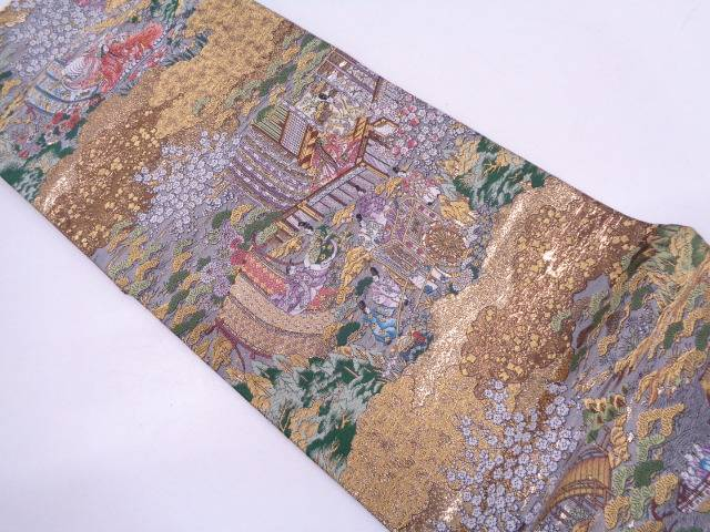 弐拾四金箔京洛時代祭還幸絵巻織出し袋帯【リサイクル】【中古】