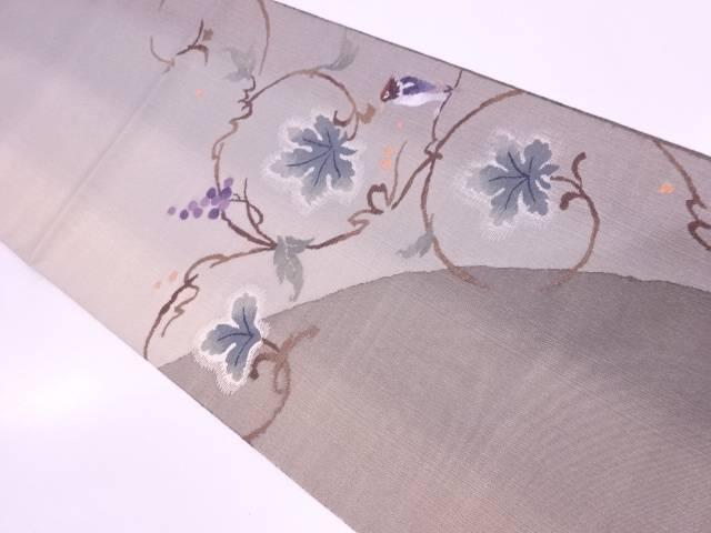 未使用品 葡萄唐草に鳥模様織出し袋帯【リサイクル】【中古】