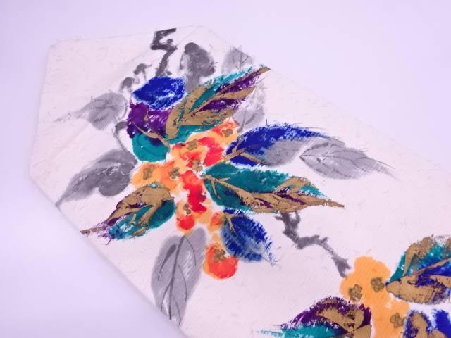 ひげ紬手描き蔦の葉模様名古屋帯【リサイクル】【中古】