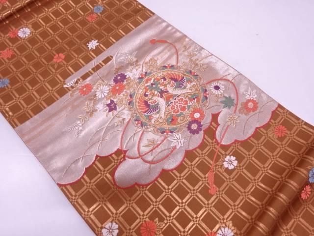 鏡裏に向かい鳳凰・秋草模様織出し袋帯【リサイクル】【中古】