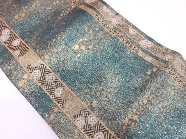 縞に花・箔散らし模様織出し袋帯【リサイクル】【中古】