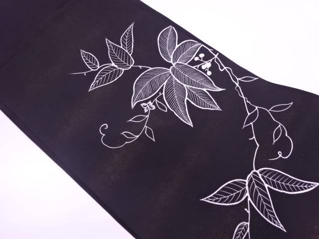 塩瀬蔦の葉模様刺繍名古屋帯【リサイクル】【中古】
