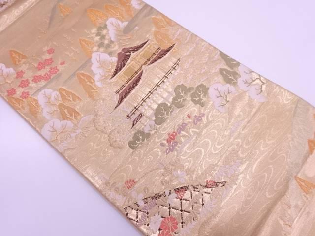 純金箔24K寺院風景模様織出し袋帯【リサイクル】【中古】