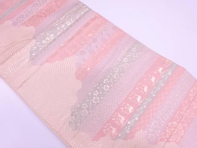 花兎に草花・古典柄模様織出し袋帯【リサイクル】【中古】