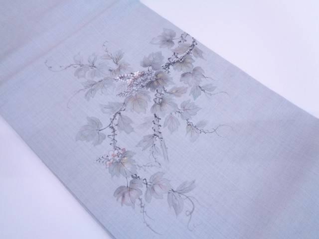 内山晴祥 手織紬手描き蔦の葉に花模様名古屋帯【リサイクル】【中古】