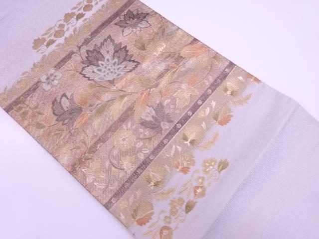 金彩螺鈿横段に草花模様袋帯【リサイクル】【中古】