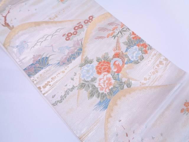 山並みに花鳥模様織出し袋帯【リサイクル】【中古】
