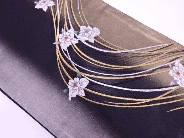 花に抽象模様織出し名古屋帯【リサイクル】【中古】