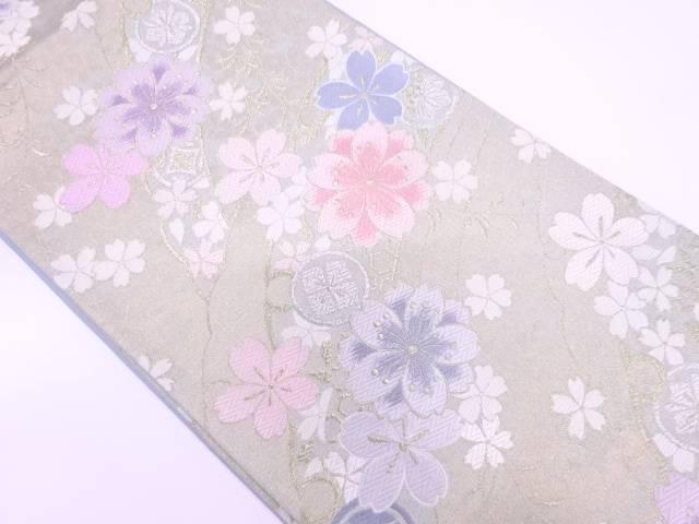 未使用品 雪芝に桜模様織出し袋帯【リサイクル】【中古】