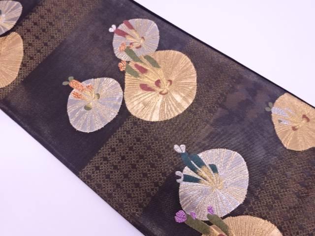 未使用品 横段に松模様織出し袋帯【リサイクル】【中古】