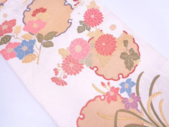 未使用品 唐織雪輪に草花模様織出し袋帯【リサイクル】【中古】