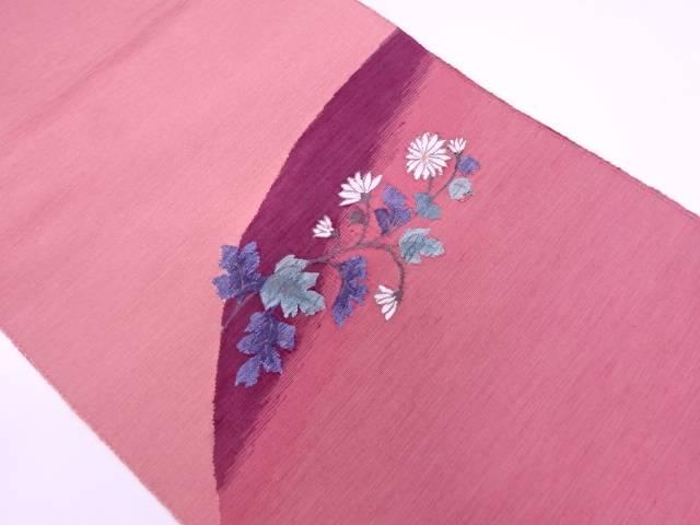 じゅらく製 手織り真綿紬草花模様織出し名古屋帯【リサイクル】【中古】