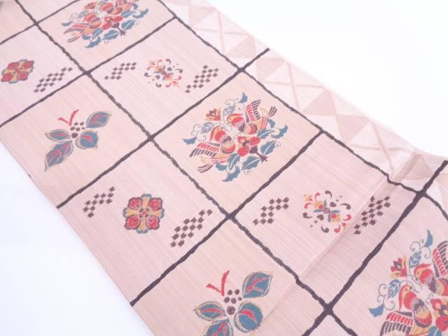 市松に花鳥模様織出し袋帯【リサイクル】【中古】