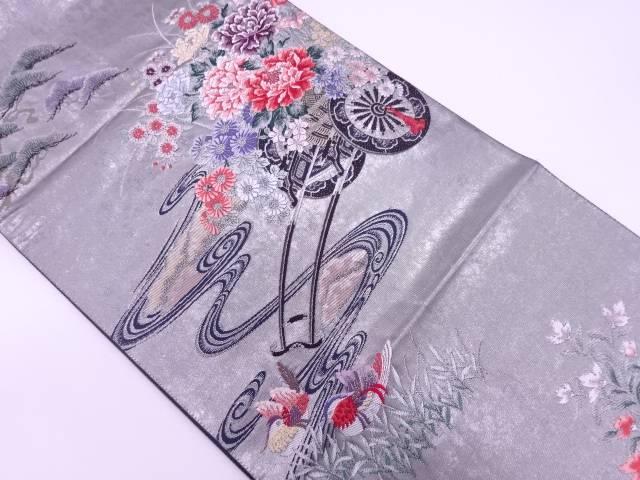 引箔流水に花車・鴛鴦模様織出し袋帯【リサイクル】【中古】