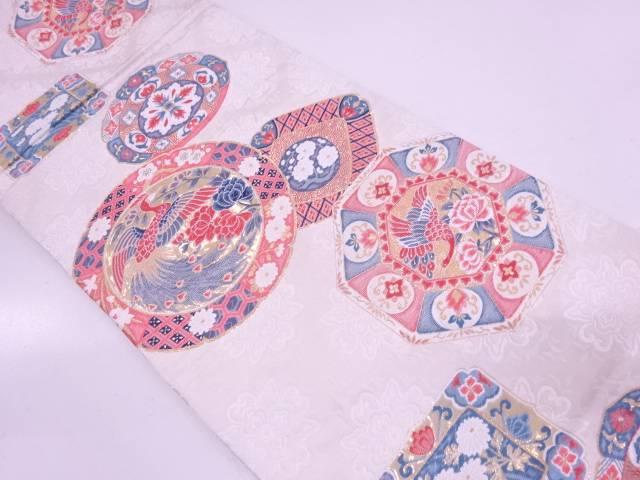 九百錦24金箔絵皿に花鳥模様織出し袋帯【リサイクル】【中古】
