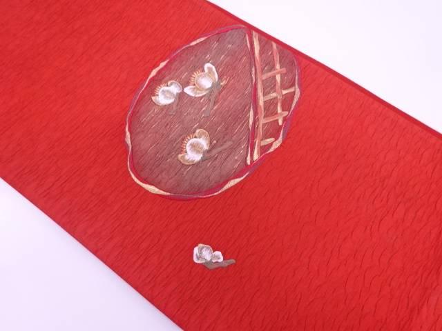 未使用品 纐纈日本刺繍草花模様袋帯【リサイクル】【中古】