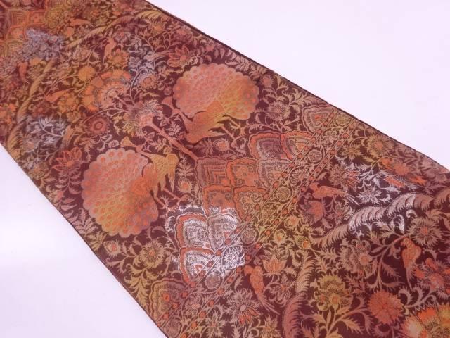 服部織物製 琥珀錦向かい孔雀に草花模様織出し袋帯【リサイクル】【中古】