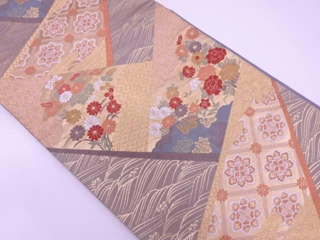 唐織草花に古典柄模様織出し袋帯【リサイクル】【中古】