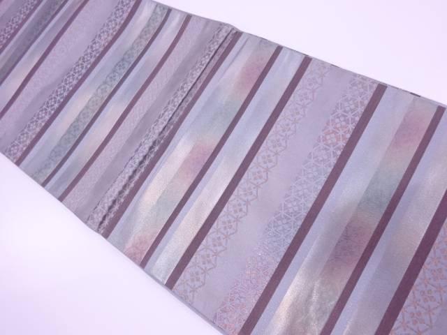 未使用品 横段に抽象模様織出し袋帯 【リサイクル】【中古】