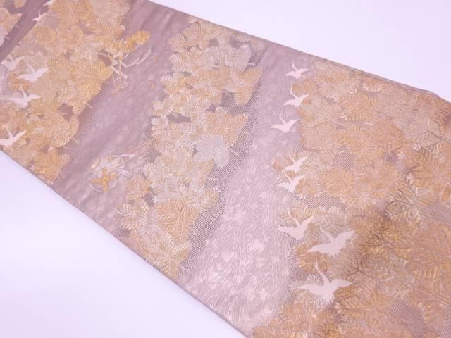 群鶴に松模様織出し袋帯 【リサイクル】【中古】