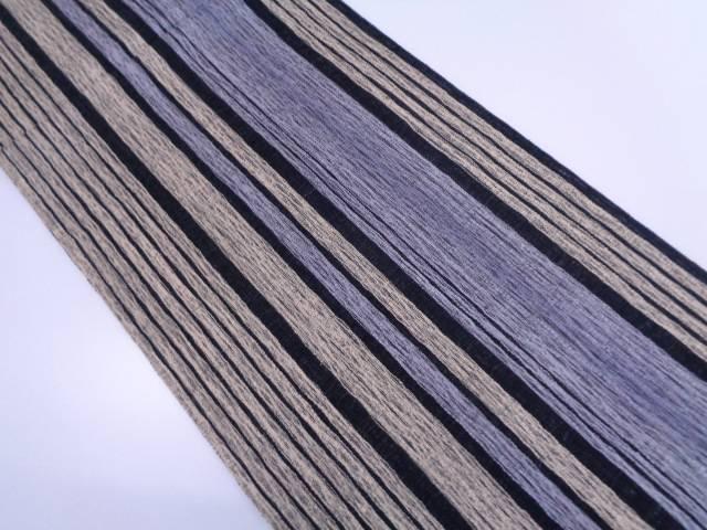 すくい織縞模様織出し全通袋帯【リサイクル】【中古】