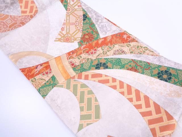 切り嵌めに束ね熨斗に草花・宝づくし模様織出し袋帯【リサイクル】【中古】