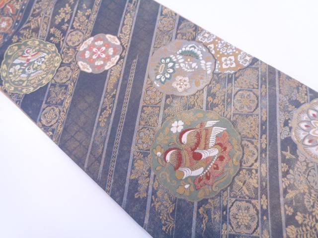 絵皿に花鳥模様織出し袋帯【リサイクル】【中古】